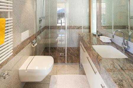 tiled: Interior of a modern apartment, domestic bathroom Stock Photo