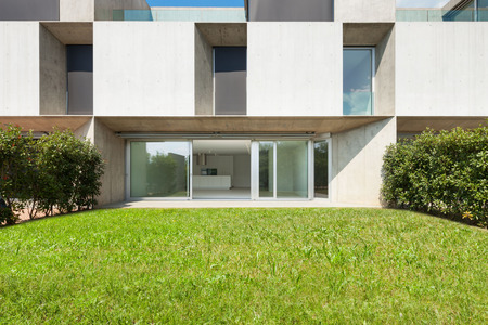 home and garden: Architecture, new trend design, external of a modern house with garden Stock Photo