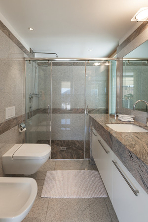 bathroom wall: Interior of a modern apartment, domestic bathroom Stock Photo