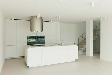 Architecture, new trend design, domestic kitchen of a modern house Stock Photo