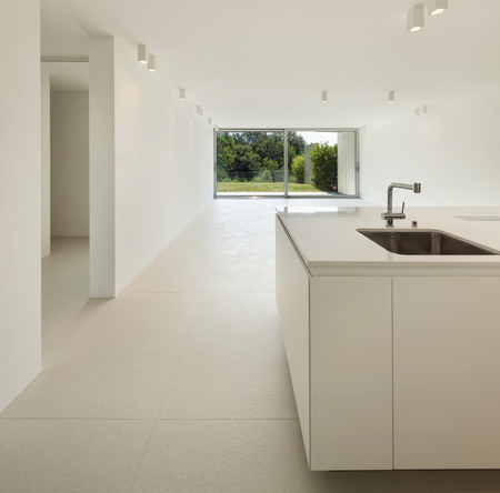 domestic kitchen: Architecture, new trend design, empty room with kitchen