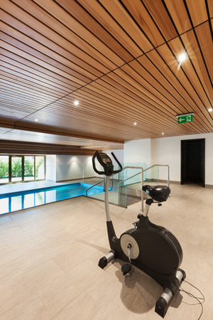 Luxury Apartment With Indoor Pool, Wooden Ceiling Stock Photo ...