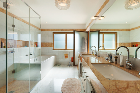 ceiling: Interior of a modern apartment, domestic bathroom Stock Photo