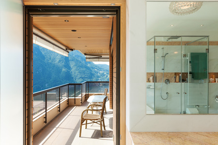 indoor inside: Interior of a modern apartment, balcony view from the bathroom