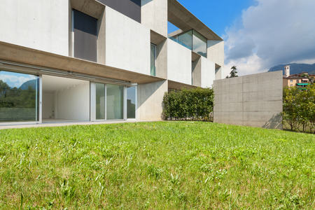 view to outside: Architecture, new trend design, external of a modern house with garden Stock Photo