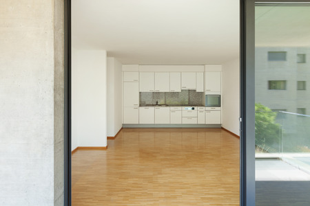 apartment living: interior of an apartment, empty living room with kitchen Stock Photo