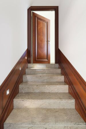 door open: Architecture, interior of building, marble staircase view