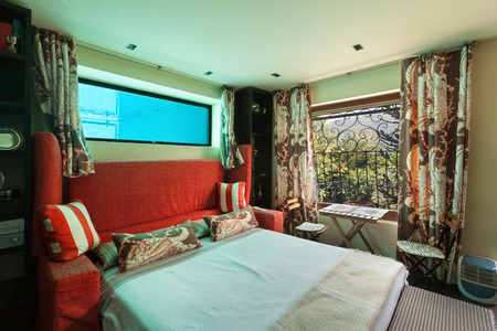 guest room: guest room of an house, double bed with pool window