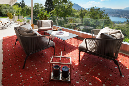 furnished: Interior of house, beautiful terrace furnished