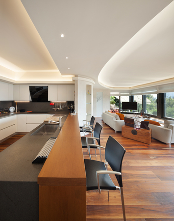 luxury apartment: Interiors, beautiful modern kitchen of a luxury apartment