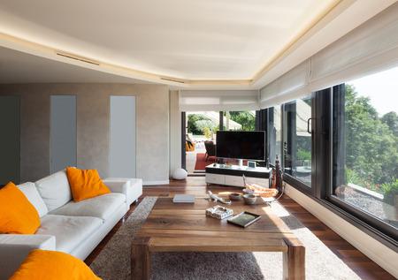 高級マンションのインテリア、美しいリビング ルーム 写真素材