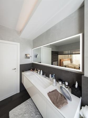bathroom interior: beautiful interior of a modern house, bathroom