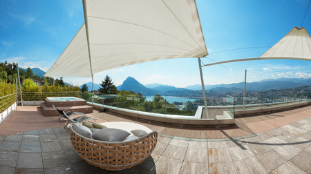 penthouse: modern penthouse, beautiful panorama from a terrace, lake view