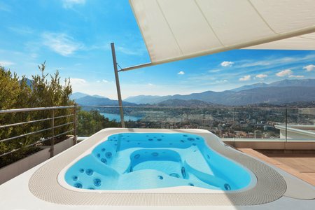beautiful terrace of penthouse with jacuzzi