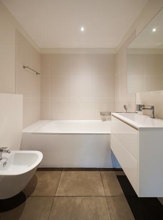 bath room: interior of new apartment, modern bathroom