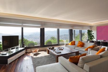 Interni, bel soggiorno di un appartamento di lusso Archivio Fotografico - 47441499