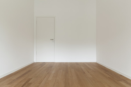 empty room: interior of new apartment, empty room with wooden floor
