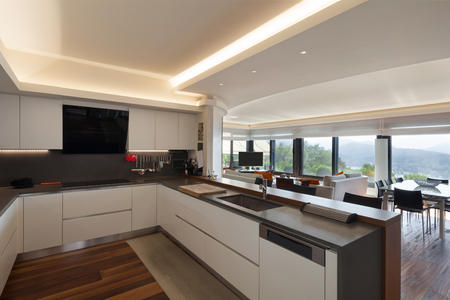 kitchen cabinets: Interiors, beautiful modern kitchen of a luxury apartment