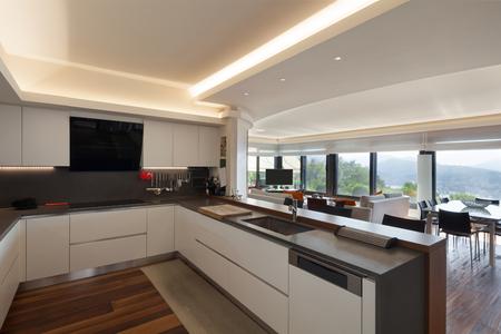 Interiors, beautiful modern kitchen of a luxury apartment