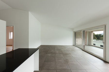 domestic kitchen: interior of new apartment, empty room with domestic kitchen
