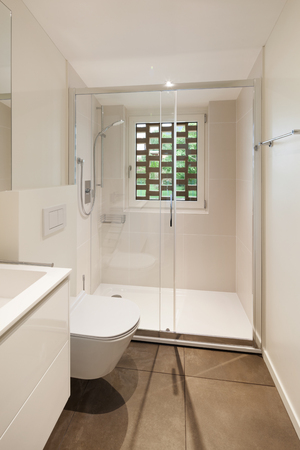 bathroom wall: interior of new apartment, modern bathroom with shower Stock Photo