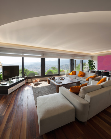 new home: Interior, beautiful living room of a luxury apartment Stock Photo