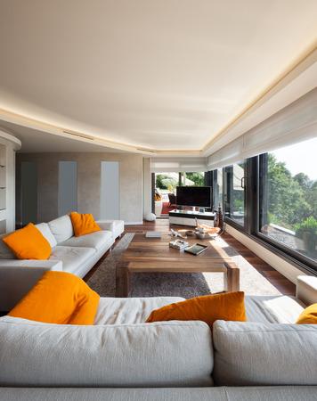 luxury living room: Interior, beautiful living room of a luxury apartment Stock Photo