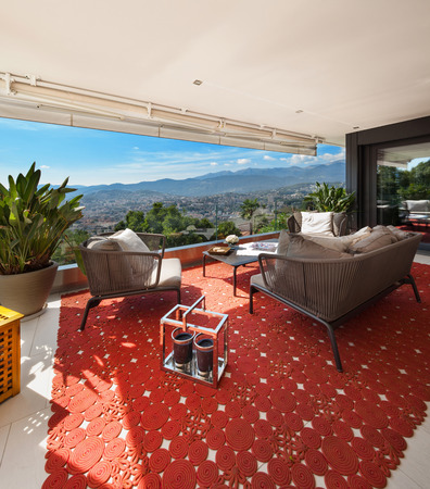 furnished: Interior of house, beautiful balcony furnished Stock Photo