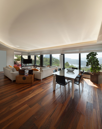 Gli interni, ampio salotto moderno di un appartamento di lusso