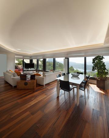 silla de madera: Los interiores, amplia sala de estar moderna de un apartamento de lujo