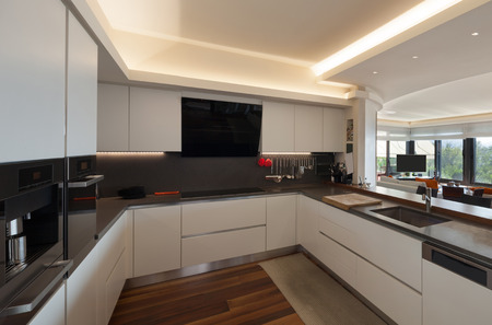 kitchen counter top: Interiors, beautiful modern kitchen of a luxury apartment