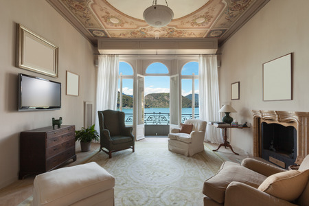 comfortable living room of an old luxury mansion
