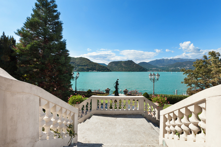 mansion: beautiful classical mansion,  grand staircase with lake view Stock Photo