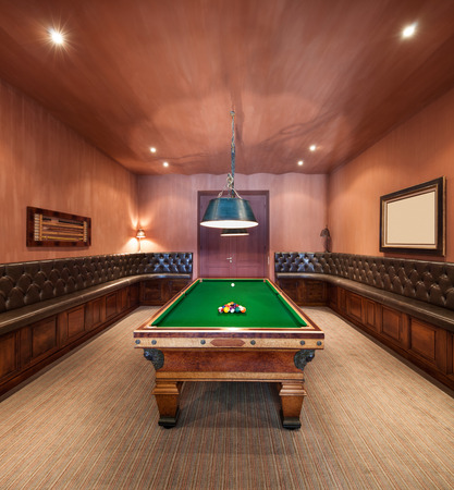 pool balls: Entertainment room in luxury mansion with  pool table