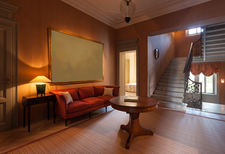 Luxury mansion, sitting room on the  passage with big painting
