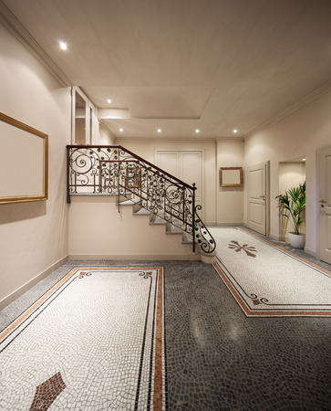 mosaic floor: Hall with mosaic floor in luxury mansion , staircase Stock Photo