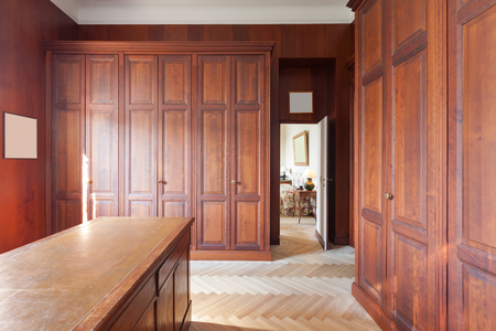 old furniture: Interior, old wardrobes of a luxury mansion