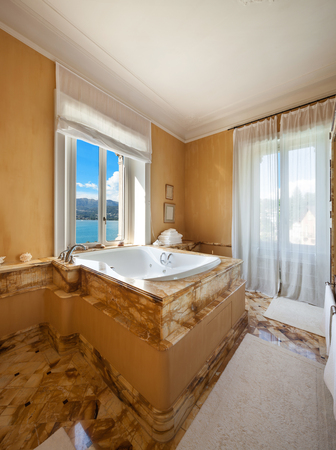 marble wall: Interior of a luxury mansion, beautiful bathroom with jacuzzi