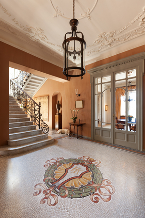 mosaic floor: Grand foyer with mosaic floor in luxury mansion