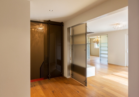 glass partition: Modern apartment, entrance with partition