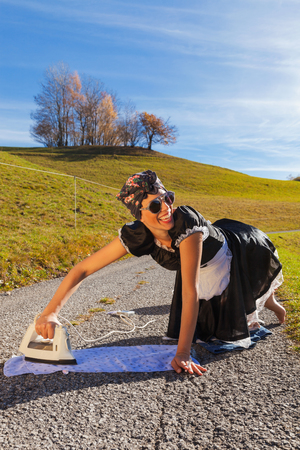 reconstructed: Scene reconstructed housewife who irons in the road