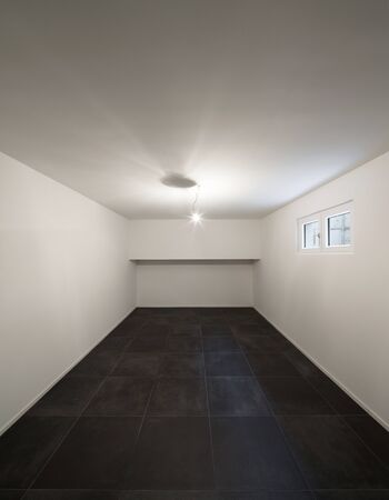 perspective room: Architecture, modern house, empty room with tiled floor black Stock Photo