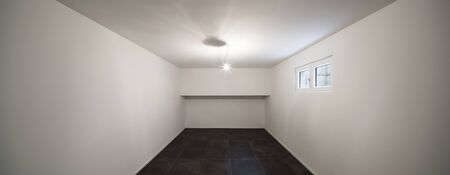 tiled floor: Architecture, modern house, empty room with tiled floor black Stock Photo