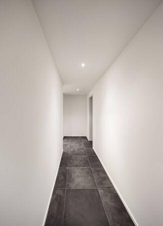 entryway: Architecture, modern entryway, long corridor with tiled floor black
