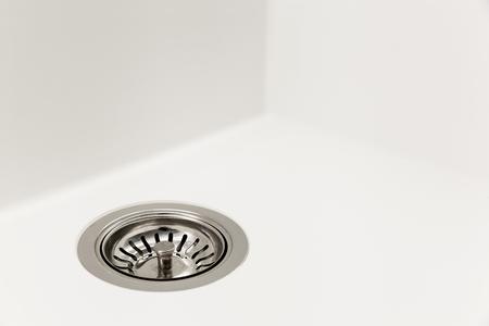 closeup of a white kitchen sink
