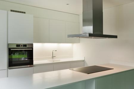 domestic kitchen: interior of new apartment, white domestic kitchen