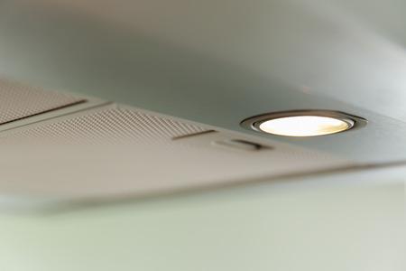 inox: closeup of a modern inox cooker hood, light Stock Photo