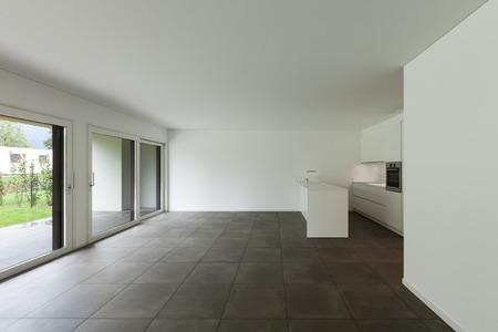 tile flooring: interior of new apartment, modern domestic kitchen Stock Photo