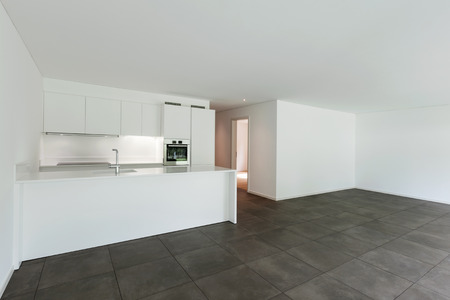 interior of new apartment, modern domestic kitchen Stock Photo