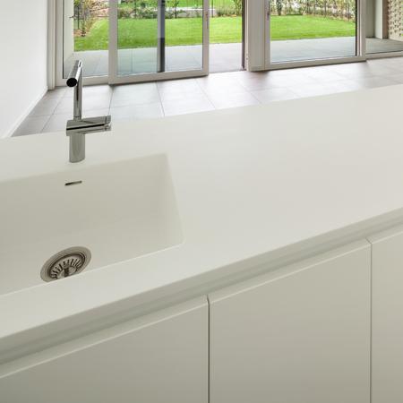 white kitchen: Interior, modern domestic kitchen, white counter top